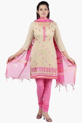 JASHNWomen Self Woven Chanderi Churidaar Kameez With Embroidered Dupatta - 201967166