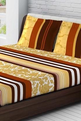 TANGERINECotton Printed Medium Bedsheet And Pillow Set