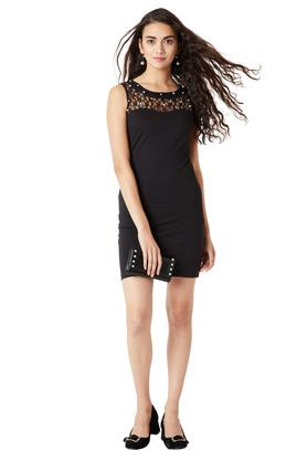 Womens Round Neck Embellished Bodycon Dress