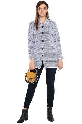 Womens Mandarin Collar Striped Long Cardigan