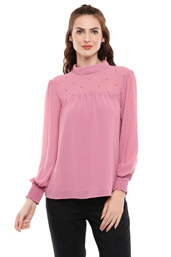 Womens High Neck Embellished Top