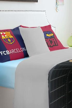 SPACESFCB Players Blue Double Bed Sheet With 2 Pillow Covers