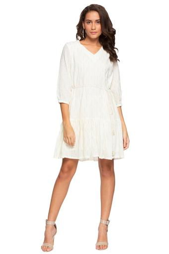 Womens V Neck Stripe Embroidered Skater Dress