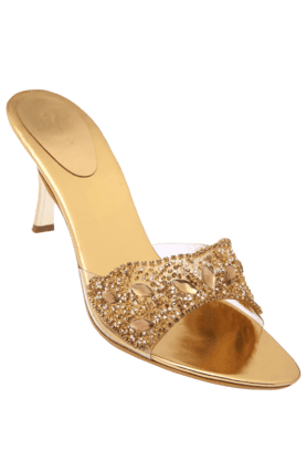 CATWALK Womens Golden Toned Slipon Heel Sandal