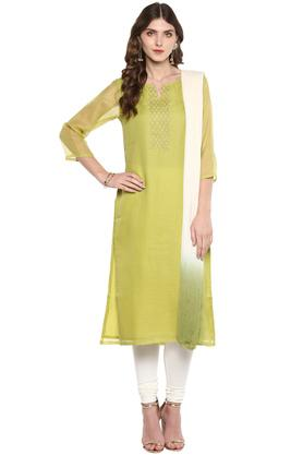 Womens Notched Neck Sequined Churidar Suit