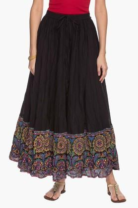STOP Womens Contrast-detailed Flared Skirt