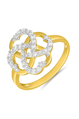 MAHI Mahi Gold Plated Tangled Love Finger Ring With CZ For Women FR1100648G