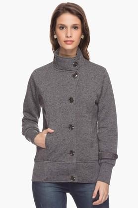 IRIS Womens High Neck Slub Jacket