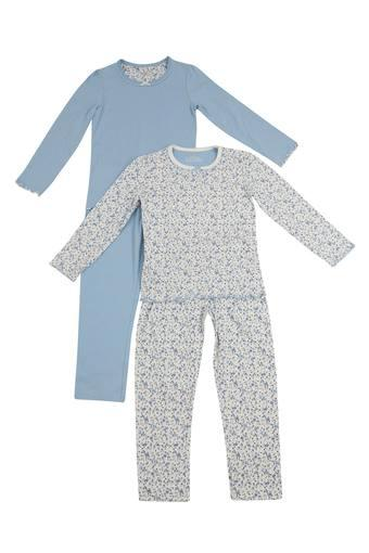 Girls Round Neck Floral Print and Dot Pattern Tee and Pants Set - Pack of 2