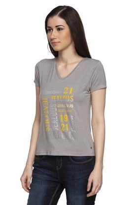 Womens V Neck Graphic Print T-Shirt