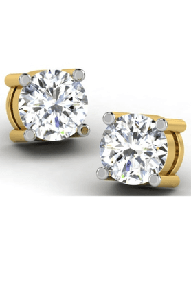 SPARKLESHis & Her Collection Women 9 Kt Gold Solitaire Diamond Earrings HHT6311