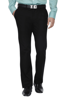 INDIAN TERRAIN Mens 4 Pocket Regular Fit Solid Formal Trouser