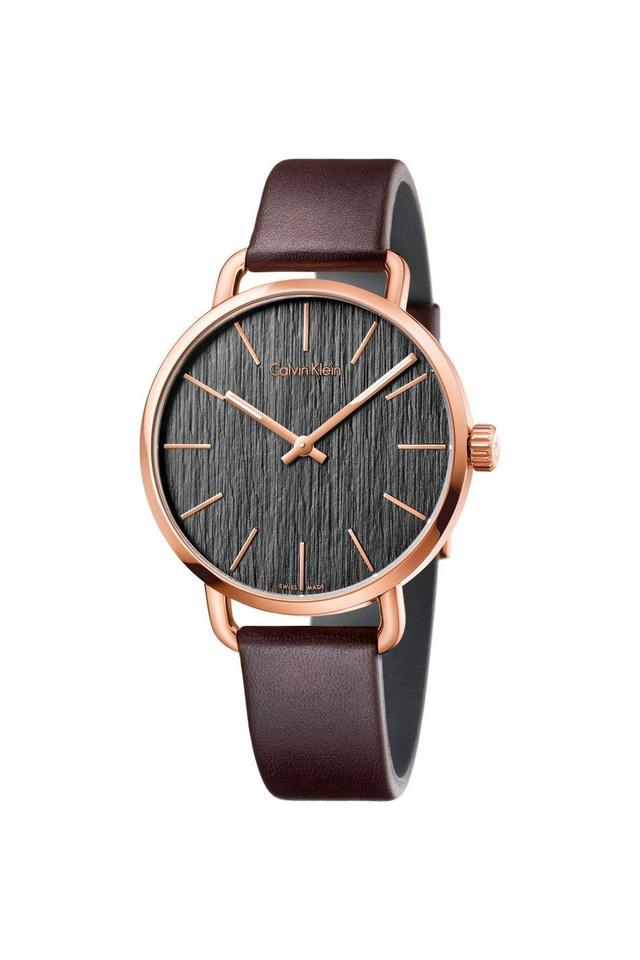 Mens Even Grey Dial Leather Analogue Watch - K7B216G3