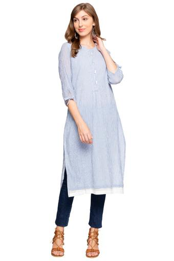 ced1d33146 Buy BIBA Womens Mandarin Collar Striped Kurta | Shoppers Stop