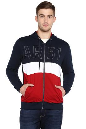 Mens Hooded Neck Colour Block Sweatshirt