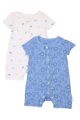 Boys Round Neck Printed Romper - Pack of 2