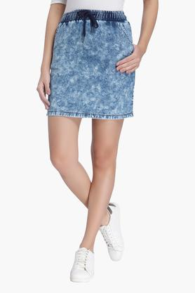 VERO MODA Womens 2 Pocket Stone Wash Short Skirt