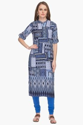 HAUTE CURRY Womens Mandarin Neck Printed Kurta - 201533209