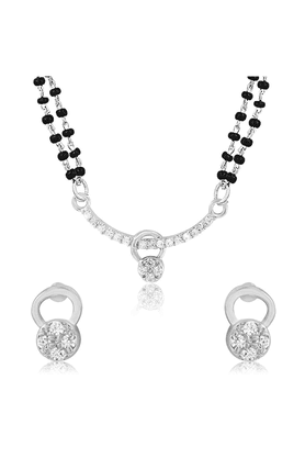 MAHI Mahi Rhodium Plated Frolicsome Mangalsutra Set With CZ For Women NL1101945R2