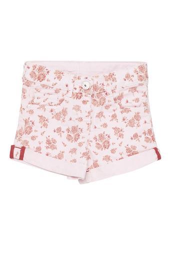 Girls Slim Fit Floral Print Shorts