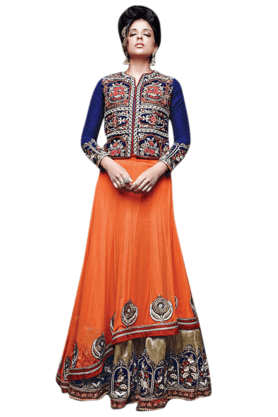 DEMARCA Women Velvet Embroidered Lehenga Choli - 9876904