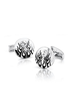 MAHI Mahi Rhodium Plated Fiery Liana Cufflinks Of Brass Alloy With Swarovski Crystal For Men CL1100106