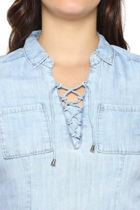 Womens Criss Cross Neck Washed Top