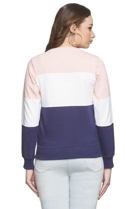 Womens Zip Through Neck Colour Block Sweatshirt