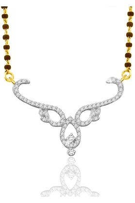 SPARKLES Gold Mangalsutra With Diamond Pendant Set N9322