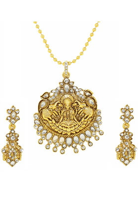 ZAVERI PEARLS Beautifully Carved Antique Necklace Jewel Set - ZPFK2568