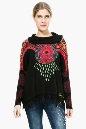 DESIGUAL Womens Cowl Neck Printed Embellished Sweater