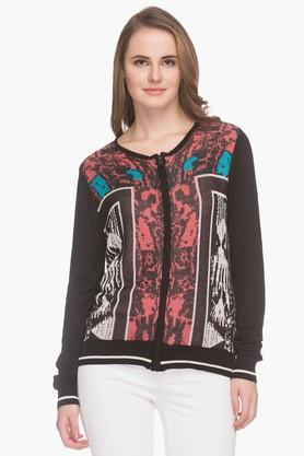 LIFE Womens Round Neck Printed Sweater