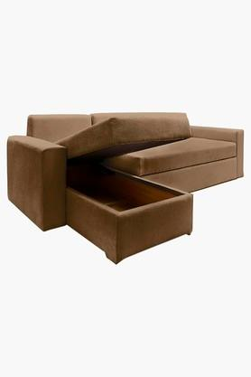 Chestnut Brown Fabric Sectional Sofa Bed (2 - Seater)