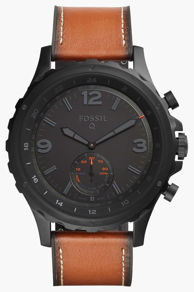 Mens Hybrid Analogue Leather Smart Watch