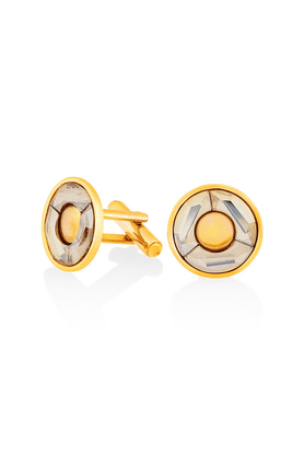MAHI Mahi Gold Plated Golden Shadow Round Cufflink Made With Swarovski Elements For Men CL1100203GGol