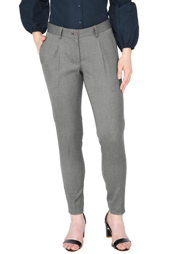 Womens 3 Pocket Printed Formal Trousers