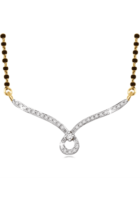 SPARKLES 18Kt Gold Mangalsutra With Diamond Pendant Along With Gold Plated Silver Chain And Black - 7503105_9999