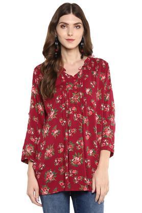 Womens Mandarin Collar Floral Print Tunic