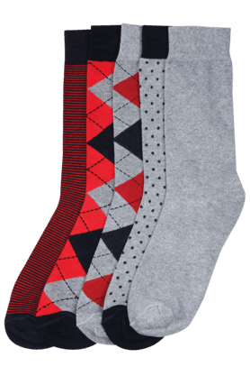 STOP Men Printed Socks (Set Of 5) - 8126907