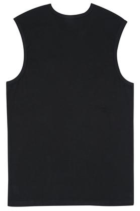 Mens Sleeveless Round Neck Slim Fit Solid T-Shirt