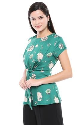 Womens Round Neck Floral Printed Tie Up Top