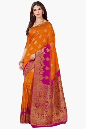 ASHIKAWomens Colour Block Golden Weave Saree - 201773713