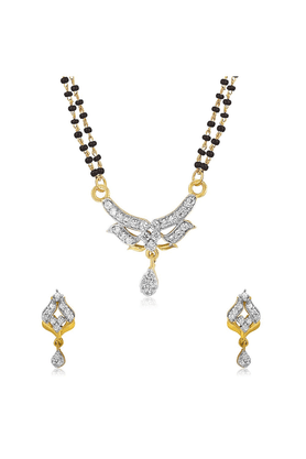 MAHI Mahi Gold Plated Virtuous Beauty Mangalsutra Set With CZ For Women NL1101948G2