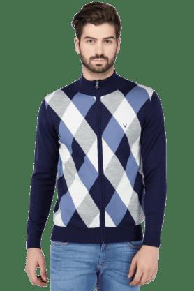 ALLEN SOLLYMens Full Sleeves Slim Fit Check Jacket