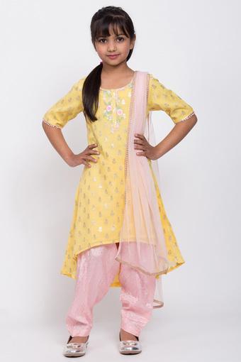 BIBA GIRLS -  YellowSalwar Kurta Set - Main