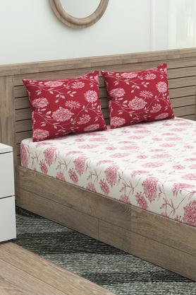 Floral Printed Fitted Bed Sheet with 2 Pillow Cover