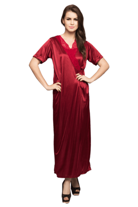 4-Piece Satin Nightwear (Buy Clovia Products Worth 1499 & Above & Get a FREE American Diamond Chain & Pendant)
