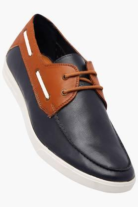 ALLEN SOLLY Mens Leather Lace Up Boat Shoes