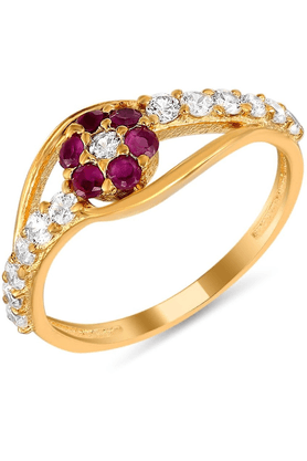 MAHI Mahi Gold Plated GlitteRing With Ruby And CZ Stones Beauty Ring For Women FR1100305G