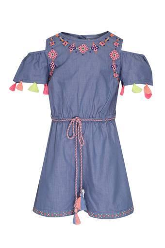 Girls Round Neck Embroidered Jumpsuit